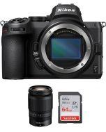 Nikon Z5 Body Only, Full Frame Mirrorless Camera (VOA040AM) + Nikkor Z 24-200mm f/4-6.3 VR Lens + Memory Card 64 GB