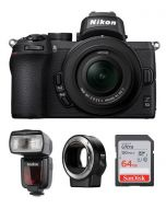 Nikon Z50 with 16-50mm VR Kit (VOK050NM) + FTZ MOUNT + GODOX FLASH TT685N + 64gb Memory Card + NPM Card