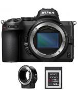 كاميرا نيكون Z5 بدون مرآة (VOA040AM) + بطاقة ذاكرة 64 جيجابايت + محول عدسات