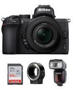 Nikon Z50 with 16-50mm VR Kit (VOK050NM) + FTZ MOUNT + GODOX FLASH TT685N + 64GB SD Card + NPM Card