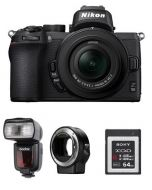 نيكون كاميرا Z 50 مع عدسة 50-16 (VOK050NM) + محول عدسات + فلاش TT685N جودوكس + بطاقة ذاكرة 64 جيجابايت + بطاقة عضوية نيكون