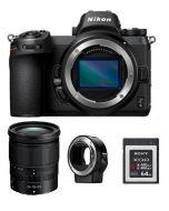 كاميرا نيكون Z6 بدون مرآة (VOA020AM) + محول FTZ +  عدسة نيكون 24-70mm +  بطاقة ذاكره 64 جيجابايت