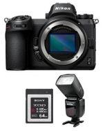 كاميرا نيكون Z6 بدون مرأة (VOA020AM) + فلاش جودوكس + بطاقة ذاكره 64 جيجابايت + بطاقة عضوية من نيكون