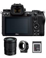 نيكون كاميرا Z6 II  + بطاقة ذاكرة 64 جيجابايت + عدسة 24-70 + محول FTZ (VOA060AM)