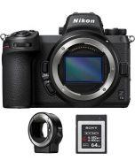 نيكون Z7ii كاميرا (VOA070AM) + بطاقة ذاكرة 64 جيجابايت +  محول عدسات FTZ